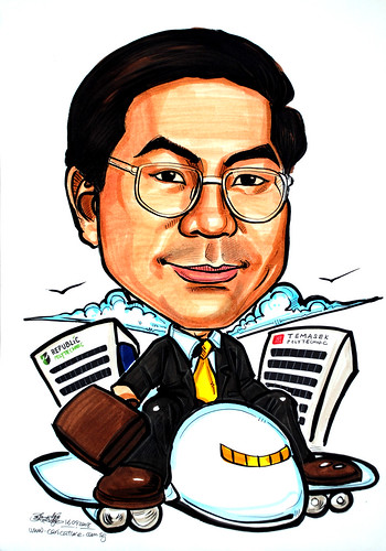 Caricature for Temasek Polytechnic on airplane with business case
