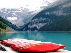 Canoes (jrodmanjr) Tags: mountain lake canada landscape rockies canoe banff lakelouise banffnationalpark