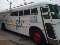 Google Bus on the streets of Baltimore