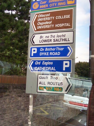 Ireland - example of Irish /Gaelic road sign