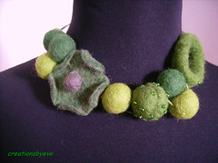 green felt necklace (3) (creationsbyeve) Tags: flower green necklace europe felting handmade felt greece