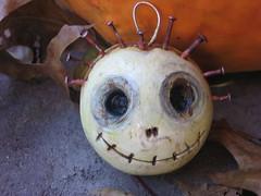 skull ornie (The Vintage Sister) Tags: sculpture halloween skeleton skull ornaments clay mummy artfolkart