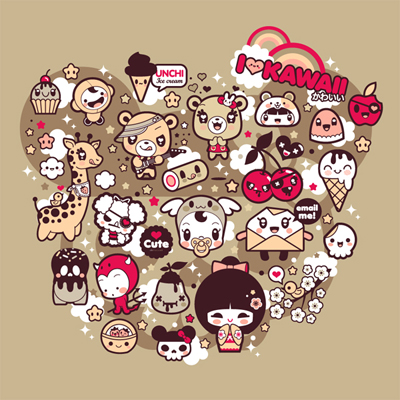 "I Love Kawaii: Shirt design for ""La Fraise"" contest"