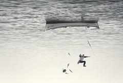 Fishing in Australia (Villi.Ingi) Tags: sea fish man up composite boat fishing fisherman funny surreal australia down humour falling gravity unreal pipc