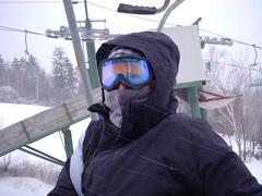 Me on the ski lift today (*Michelle*(meechelle)) Tags: snow cold me skiing lift mask goggles freezing nh watervillevalley takenbymysonryan