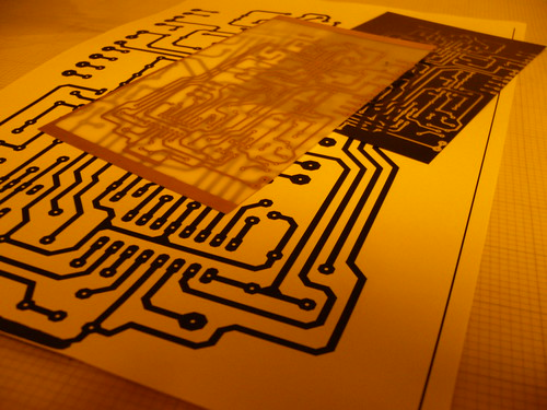 PCB, photographic film and source pattern printed on paper