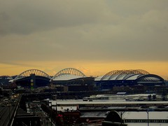 Safeco and Qwest fields, Mt. Rainier (bhollandsworth) Tags: seattle rainier safeco qwest