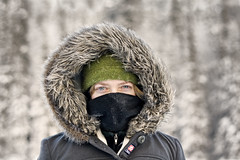 chill (eyebex) Tags: winter portrait woman cold green wool face hat fur t freezing tammy delete8 frosty covered getty hood save10 tee 108 bundled merion savedbydmu