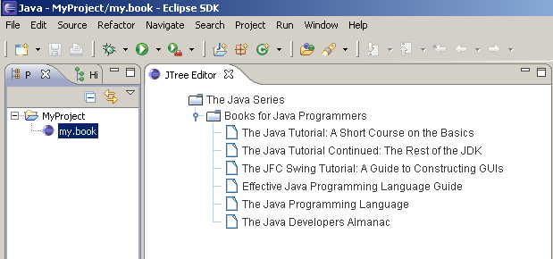 The JTree embedded in an Eclipse Editor