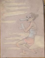 (Godjira) Tags: girl animal illustration pencil skeleton skull hands pastel surreal limbs amputee appendages