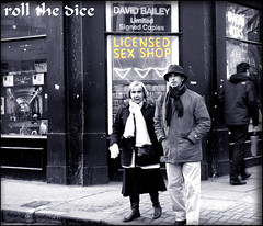 `54 (roll the dice) Tags: life street uk camp people urban colour london art classic sign sex funny couple raw natural candid soho strangers streetphotography sexshop rude humour meat explore steak porn seen fella w1 westend unaware londonist davidbailey licenced