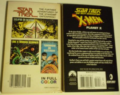 Back covers of Star Trek books