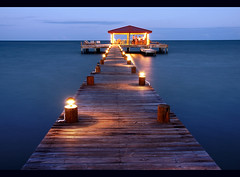 Roberts Grove Dock (Chad Galloway Photo) Tags: longexposure nightphotography travel bar night evening dock belize sony carribbean centralamerica placencia a700 robertsgrove abigfave aplusphoto karmanominated