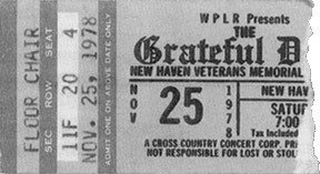 Grateful Dead (copy of a ticket for) 1/15/79 New Haven, Connecticut (rescheduled from 11/25/78)