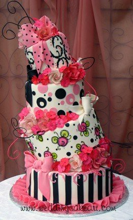 Pink and Black Crooked Cake