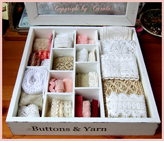 Studio Organising - new wooden box (Boxwoodcottage) Tags: white glass vintage studio wooden box lace buttons sewing yarn supplies lid organising creativespace