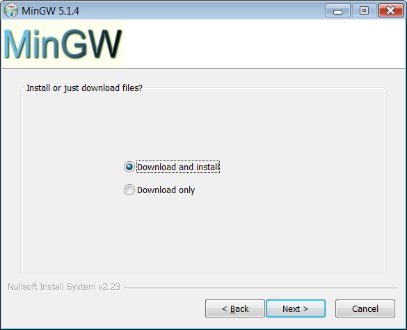 MinGW installer asks download only?