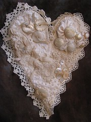 Heart (kbaxterpackwood) Tags: thread vintage beads heart recycled lace antique buttons mother silk valentine fabric ribbon pearl reused trims