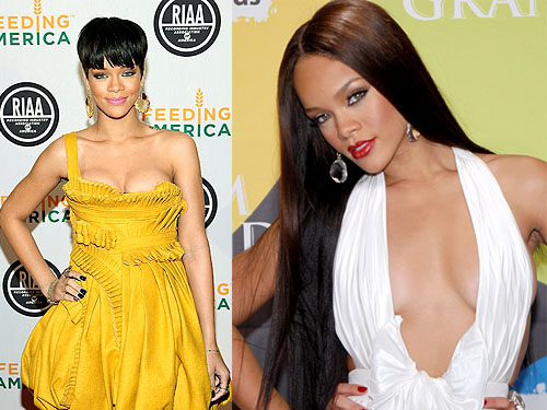 rihanna contrast hairstyles