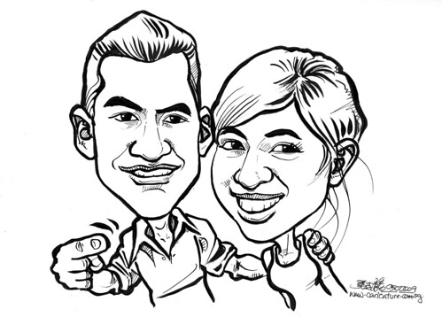Couple caricatures in ink 050209