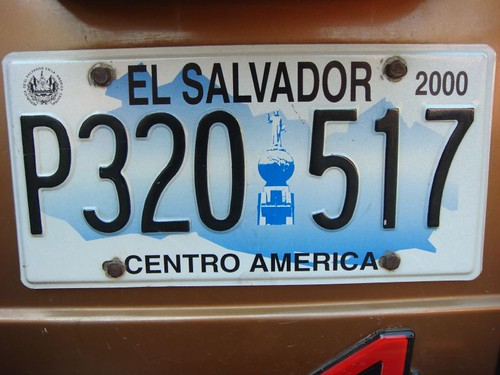 Licence plate, El Salvador...