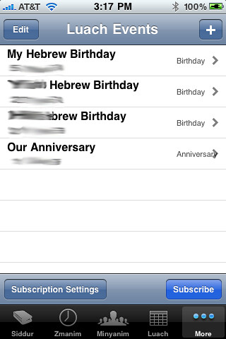 Luach Events Subscriptions in iPhone Siddur