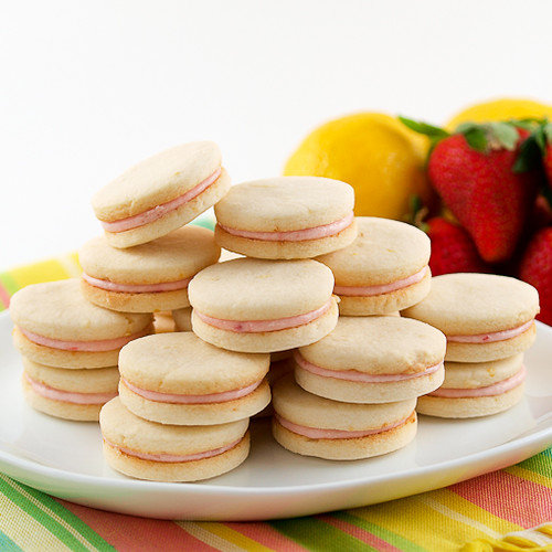 Strawberry Filled Lemon Sandwich Cookies - Evil Shenanigans