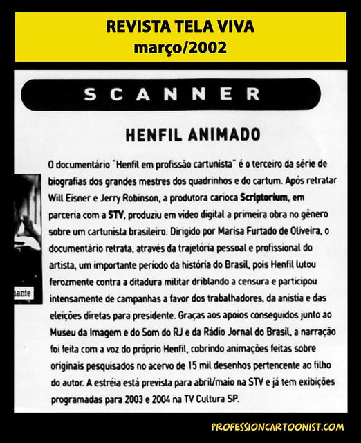 """Henfil animado"" - Revista Tela Viva - março/2002"