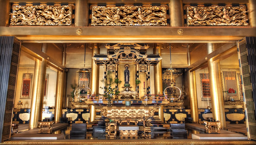 An HDR photo of the main alter at a large temple in Okazaki. Buddha's house at Mikawa Betsuin!