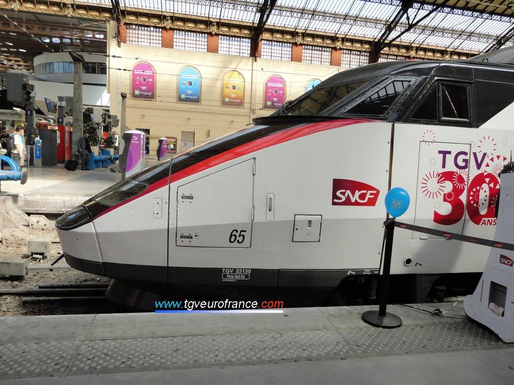Vue de profil de la motrice paire (23130) de la rame TGV PSE 65