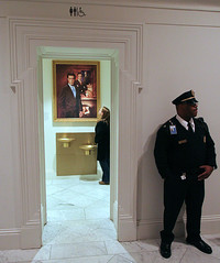 Guarded (Aaron Webb) Tags: washingtondc smithsonian dc colbert nationalportraitgallery stephencolbert portraitgallery stephencolbertportrait colbertportrait