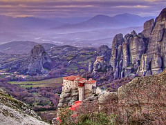 Meteora Valley, Greece (_neona_) Tags: life sunset mountain color rock photoshop landscape greek freedom europe purple violet hellas vivid greece valley balkans hdr balkan meteora ellada kalambaka pindos photomatix trikala thessaly aspropotamos top20travel flickrbestpics meteoravalley mikegk