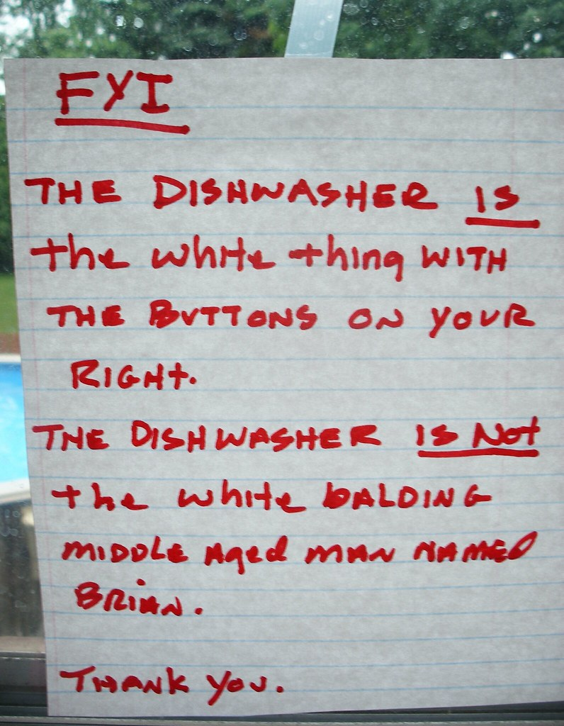 FYI The dishwasher IS the white thing with the buttons on your right. The dishwasher IS NOT the white balding middle aged man named Brian. Thank you.