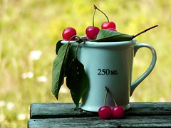 250 ML... of cherries :) (Tibby is finally back!) Tags: red cup table outside wooden cherries sunny measuring abigfave