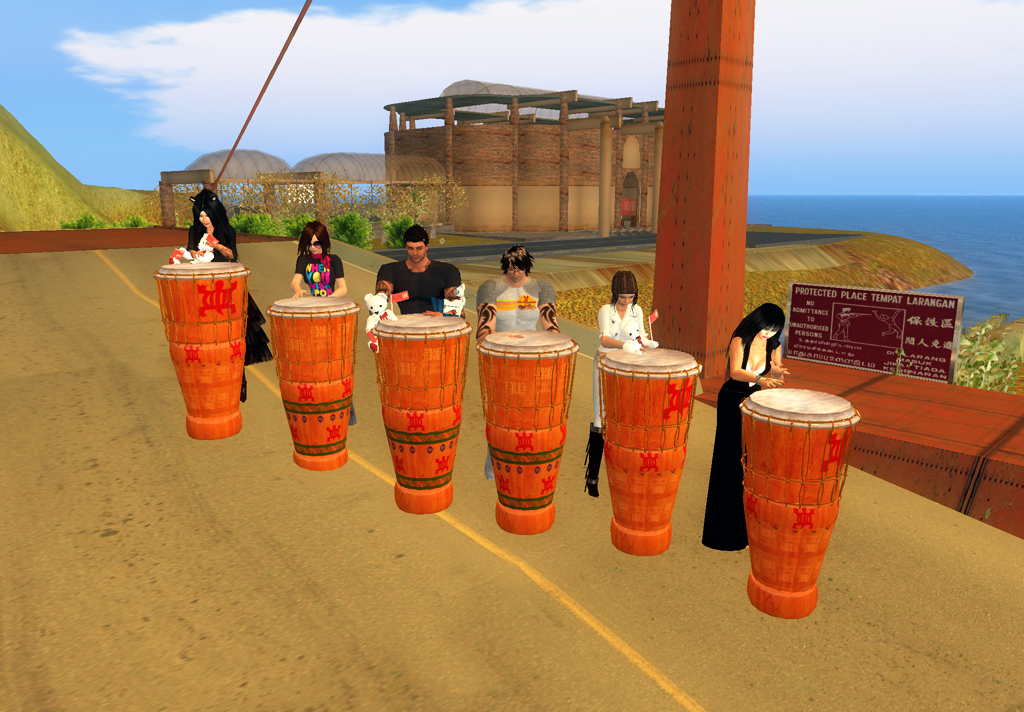 Playing African drums
