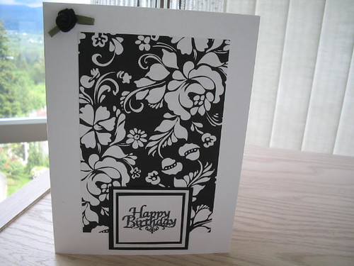 black and white elegance happy birthday card