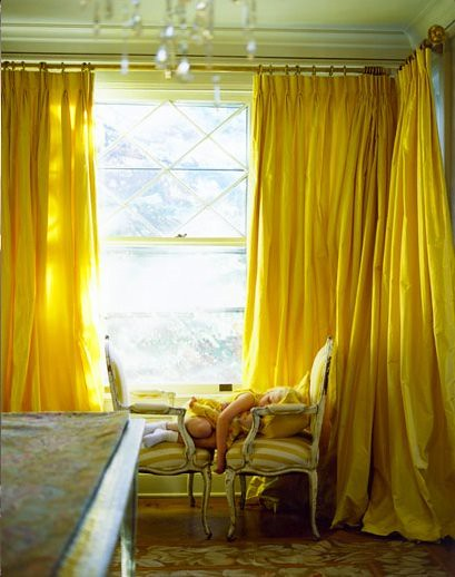 yellow design interior room sunny livingroom curtains decor paulcostello