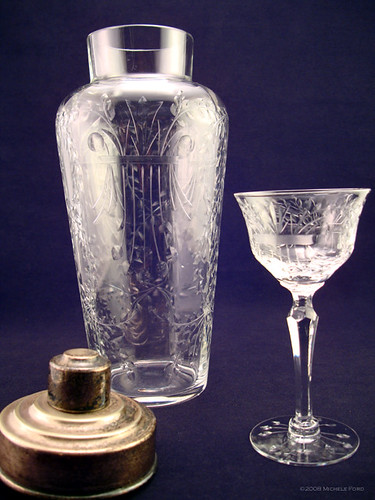 Antique Etched Crystal Cocktail Shaker & Cordial Glass