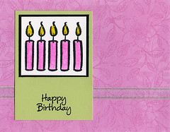 Birthday Card with Soft Colors (prospurring (Anne)) Tags: birthday pink white green yellow cards candles ranger purple handmade august ribbon coloredpencils prismacolor premier heroarts greetingcards birthdayweek oms glitterglue stickles dyeinks archivalink e1212 dejaviews birthdaymessages cleardesign odorlessmineralspirits waterproofinks boldbirthdaycandles freshprint plumcollage cl139