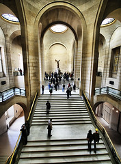 Winged Victory of Samothrace (` Toshio ') Tags: travel people paris france men art museum architecture stairs french greek hall women europe european louvre perspective culture palace tourists nike hallway stairway scuplture staircase hdr europeanunion samothrace museedulouvre toshio supershot platinumphoto kingphilippeauguste thewingedvictorofsamothrace victorofsamothrace