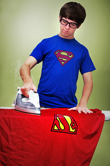 "Day 243/365 ""Keep your cape clean..."" (Explore!) (Hunter Wilson) Tags: summer portrait rescue man green wall photoshop self d50 glasses kent nikon iron board nolan tripod smooth august super superman clean clark hero wilson cape metropolis hunter 365 2008 timer wrinkle wellstone 365days hunterwilson"