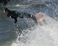 In Flight (ScottS101) Tags: boy beach fun surf waves play pacific surfer huntington creative wave teen olas surfistas hb wetsuit grom surfista