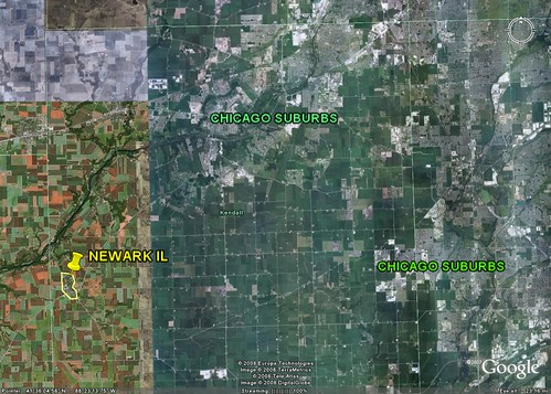 Newark is farm country, but suburbia is spreading from the NE (underlying image from Google Earth)