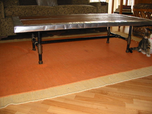 Coffee Table Wood with aluminium frame and metal legs $ 250.00