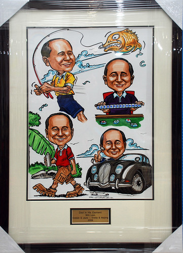 Caricature montage framed with metal inscription