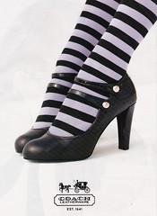 cute stripey coach ad (lorryx3) Tags: black cute stockings coach shoes purple ad stripe maryjanes stripeysocks stripestockings
