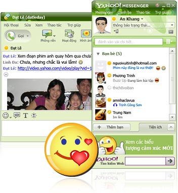 Giao diện Yahoo messenger 9.0 Tiếng Việt