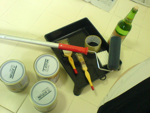 Tools and paint.