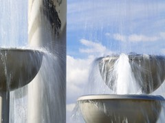 My cup runneth over... (Beeeeezzz) Tags: blue sky water fountain clouds wine roadtrip winery winecountry shandon