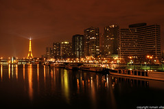 tour eiffel by night (romvi) Tags: longexposure paris france reflection tower monument by seine skyline architecture night buildings boats lights la nikon europe long exposure tour illuminations eiffel bateaux skyscrappers ciel villa nuit reflets romain gratte batiments d90 peniches mywinners platinumphoto anawesomeshot aplusphoto romainvilla lumiers theunforgettablepictures goldstaraward mirrorser romvi